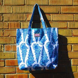 Lilly Pulitzer Seashell Canvas Tote Summer Beach
